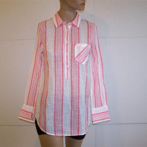 Tunic Top XS Sheer Red White Stripes Long Sleeve